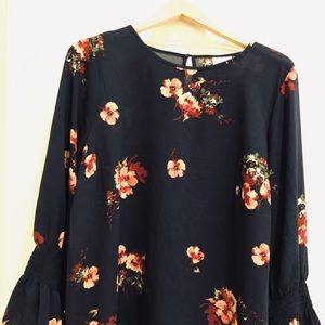 Navy Floral Maternity Blouse